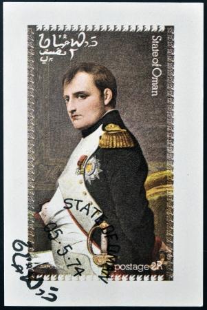 philatelist: OMAN - CIRCA 1974: Eine Briefmarke gedruckt in Oman zeigt Portr�t von Napoleon, circa 1974