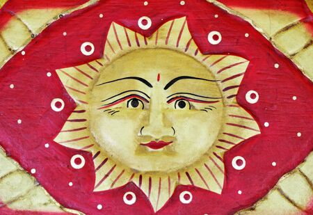Face the sun, woodcut photo