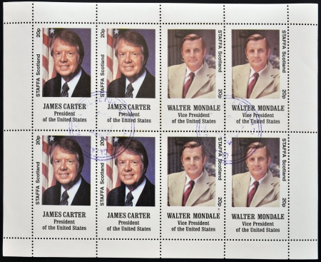 united states postal service: STAFFA - CIRCA 1977: stamps printed in Staffa shows James Carter and Walter Mondale, circa 1977