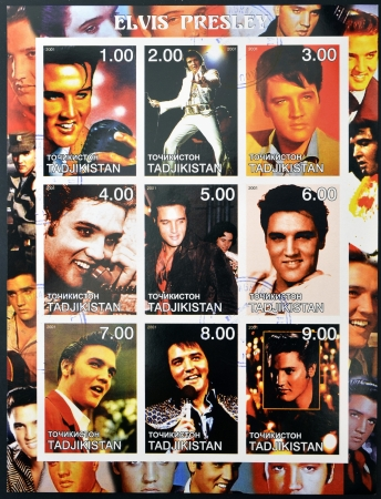 TAJIKISTAN - CIRCA 2001: collection stamps shows Elvis Presley, circa 2001