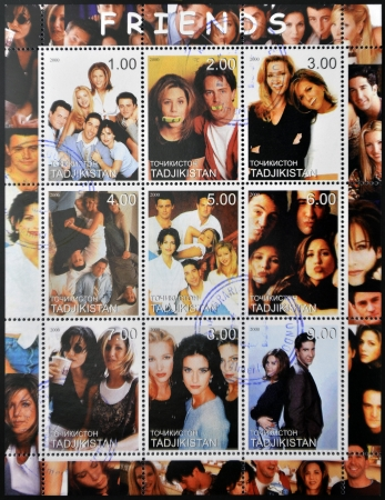 jennifer: TAJIKISTAN - CIRCA 2000: collection stamps shows Characters from the TV series American Friends, circa 2000