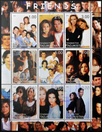 Tadzjikistan - CIRCA 2000: collectie postzegels toont personages uit de tv-serie American Friends, circa 2000