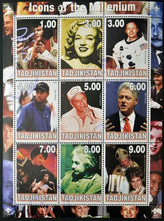 TAJIKISTAN - CIRCA 2000: Collection stamps dedicated to icons of the millenium, shows Elvis Presley, Marilyn Monroe, Neil Armstrong, Tiger Woods, Frank Sinatra, Bill Clinton, Bruce Lee, Albert Einstein, John Paul II and Princess Diana, circa 2000    Stock Photo - 14144971
