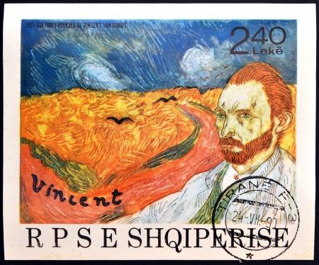アルバニア - 1990: スタンプ印刷アルバニア ショーの仕事: Vincent ヴァン ・ ゴッホの自画像 1990 年ごろとカラスのいる麦畑 報道画像