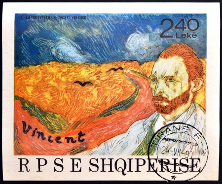 ALBANIA - CIRCA 1990: A stamp printed in Albania shows the work: Wheatfield with Crows and self-portrait of Vincent Van Gogh, circa 1990 Stock Photo - 14145004