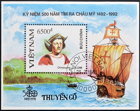 VIETNAM - CIRCA 1992: A stamp printed in Vietnam shows Christopher Columbus, circa 1992 Stock Photo - 14144957