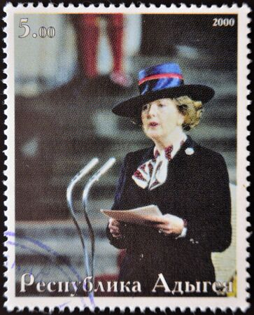 ABKHAZIA - CIRCA 2000   Stamp printed in Abkhazia showsportrait  Margaret Hilda Thatcher, Iron Lady, circa 2000 Stock Photo - 14277665