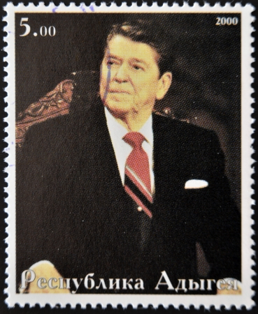 ronald reagan: ABKHAZIA - CIRCA 2000   Stamp printed in Abkhazia shows portrait Ronald Reagan, circa 2000,  Editorial