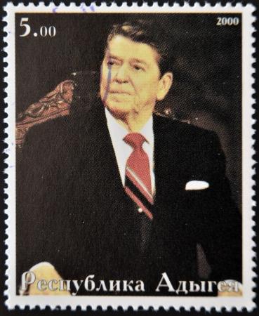 ABKHAZIA - CIRCA 2000   Stamp printed in Abkhazia shows portrait Ronald Reagan, circa 2000,  Stock Photo - 14277648