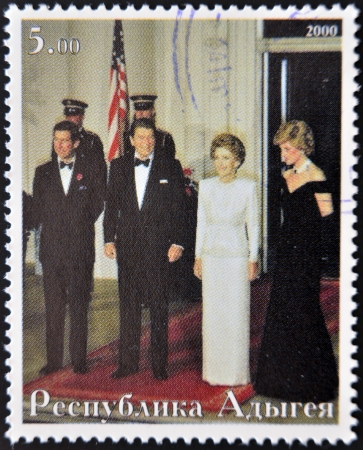 ABKHAZIA - CIRCA 2000   Stamp printed in Abkhazia shows Charles of England, Ronald Reagan, Nancy Reagan and Diana of Wales, circa 2000 Stock Photo - 14277662
