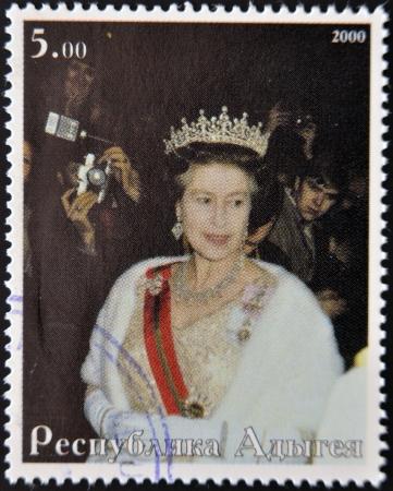ABKHAZIA - CIRCA 2000   Stamp printed in Abkhazia shows portrait  Queen Elizabeth II of England, circa 2000 Stock Photo - 14277661