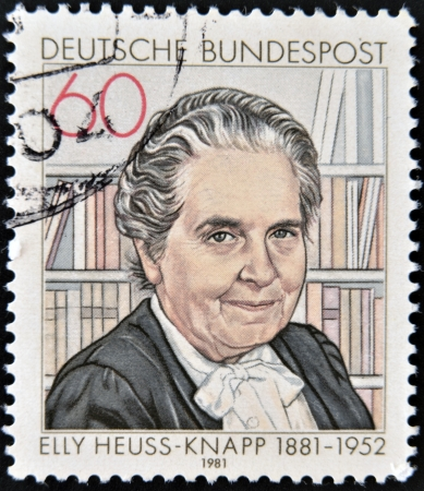 founded: GERMANY - CIRCA 1981  A stamp printed in Germany, shows Elly Heuss-Knapp  1881-1951 , founded Elly Heuss-Knapp Foundation  Rest and Recuperation for Mothers , circa 1981