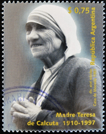 calcutta: ARGENTINA - CIRCA 1997  A stamp printed in Argentina shows mother Teresa, circa 1997