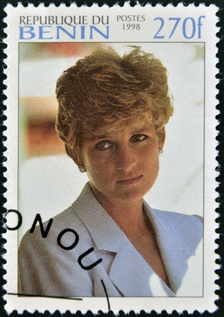 lady diana: BENIN - CIRCA 1998  A stamp printed in Benin shows portrait of  Diana Princess of Wales, Lady Di, circa 1998