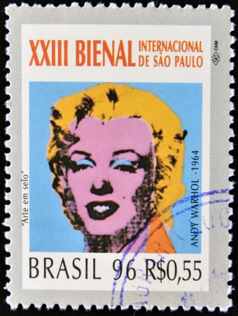 BRAZIL- CIRCA 1996  A stamp printed in Brazil shows the 23 International Biennial of Sao Paulo, portrait of Marilyn Monroe by Andy Warhol,circa 1996