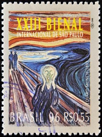 BRAZILIË-CIRCA 1996 Een stempel gedrukt in Brazilië toont de 23 Internationale Biënnale van Sao Paulo, De Schreeuw van Edvard Munch werk, circa 1996