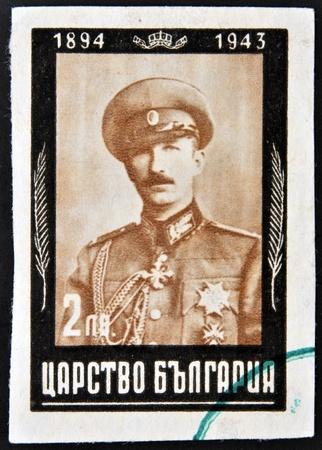 BULGARIA - CIRCA 1944  A stamp printed in Bulgaria shows a portrait of Boris III of Bulgaria,circa 1944  photo