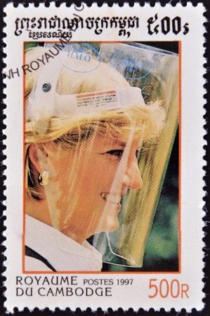 lady diana: CAMBODIA - CIRCA 1997  A stamp printed in Cambodia shows portrait of Princess Diana of Wales, Lady Di, circa 1997