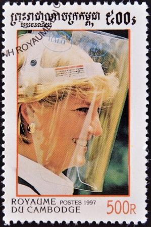 CAMBODIA - CIRCA 1997  A stamp printed in Cambodia shows portrait of Princess Diana of Wales, Lady Di, circa 1997  Stock Photo - 14277649