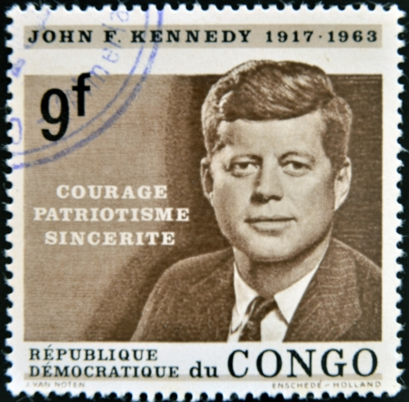 CONGO - CIRCA 1964  A stamp printed in Congo shows John F  Kennedy, circa 1964