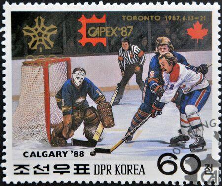 DPR KOREA - CIRCA 1987  A stamp printed in DPR KOREA  North Korea  shows Ice hockey, circa 1987  photo
