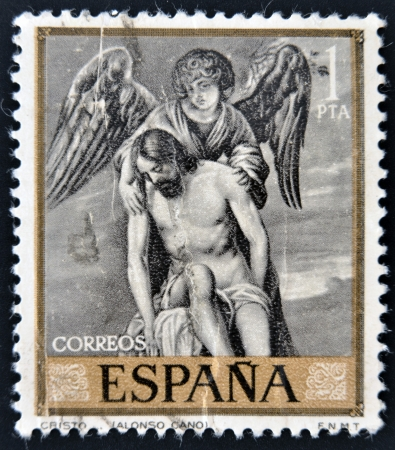 cano: SPAIN - CIRCA 1912  A stamp printed in Spain shows draw by Alonso Cano Dead Christ Supported by an Angel, circa 1912