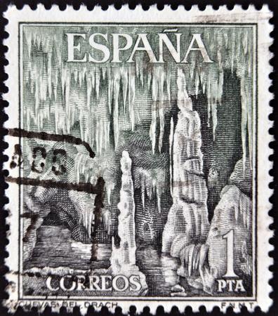 SPAIN - CIRCA 1964  a stamp printed in Spain shows Dragon Caves, Majorca, Spain, circa 1964 photo
