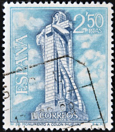 SPAIN - CIRCA 1967  A stamp printed in Spain, shows monument to Christopher Columbus, Huelva, circa 1967 photo