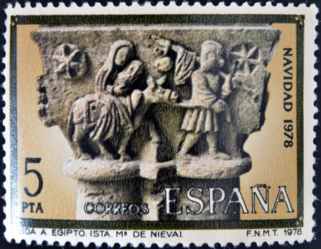 ass christmas: SPAIN - CIRCA1978  A stamp printed in Spain from the  Christmas  ,Gothic spire of the flight into Egypt,in the cloister of church of Santa Maria la Real de Nieva, Segovia, circa 1978