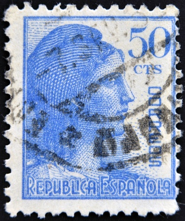 mariana: SPAIN - CIRCA 1933  A stamp printed in Spanish republic shows Allegory of the Second Spanish Republic  the Mariana Hispanic , circa 1933