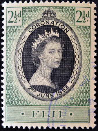 FIJI - CIRCA 1953  A stamp printed in Fiji shows queen Elisabeth II in commemoration of her coronation the two on June 1953  circa 1953 photo