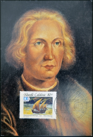 FRANCE - CIRCA 1992  A stamp printed in New Caledonia dedicated to discovery of America, shows the ship the Niña and the portrait of Christopher Columbus, circa 1992 Stock Photo - 14288317