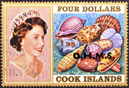 COOK ISLANDS - CIRCA 1974   Stamp printed in Cook Islands shows Portrait of Queen Elizabeth II, with collection of shells,, circa 1974