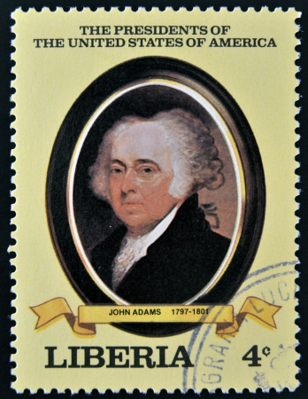 adams: LIBERIA - CIRCA 1982  A stamp printed in Liberia shows President John Adams, circa 1982  series of stamps of the presidents of united states of america