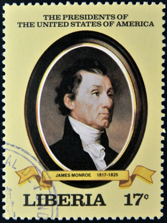 LIBERIA - CIRCA 1982  A stamp printed in Liberia shows President James Monroe, circa 1982  series of stamps of the presidents of united states of america  Stock Photo - 14277652
