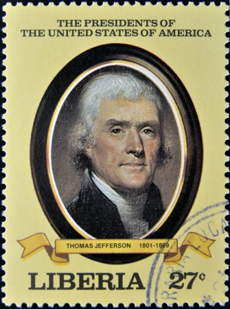 LIBERIA - CIRCA 1982  A stamp printed in Liberia shows President Thomas Jefferson, circa 1982  series of stamps of the presidents of united states of america