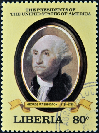 LIBERIA - CIRCA 1982  A stamp printed in Liberia shows President George Washington, circa 1982  series of stamps of the presidents of united states of america  Stock Photo - 14277650