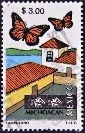 lepidoptera: MEXICO - CIRCA 1997  A stamp printed in Mexico dedicated to Michoacan, lepidoptera, circa 1997