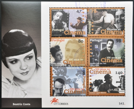 PORTUGAL - CIRCA 1996  A stamp printed in Portugal shows a set of pictures of actors to commemorate the centenary of cinema in Portugal, circa 1996