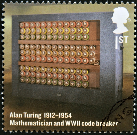 UNITED KINGDOM - CIRCA 2012  A stamp printed in Great Britain shows mathematician and WWII code breaker, Alan Turing, circa 2012
