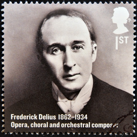 choral: UNITED KINGDOM - CIRCA 2012  A stamp printed in Great Britain shows Frederick Delius, Opera, choral and orchestral composer, circa 2012