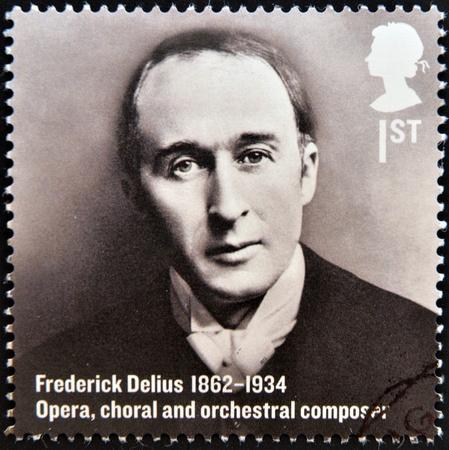 chóralne: Wielka Brytania - OKOŁO 2012 Stempel drukowane w Wielkiej Brytanii pokazuje, Frederick Delius, Opera, chóralnych i orkiestrowych kompozytor, ok. 2012