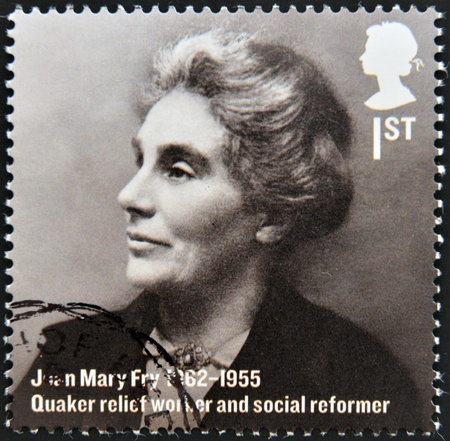 quaker: UNITED KINGDOM - CIRCA 2012  A stamp printed in Great Britain shows Joan Mary Fry, quaker relief worker and social reformer, circa 2012