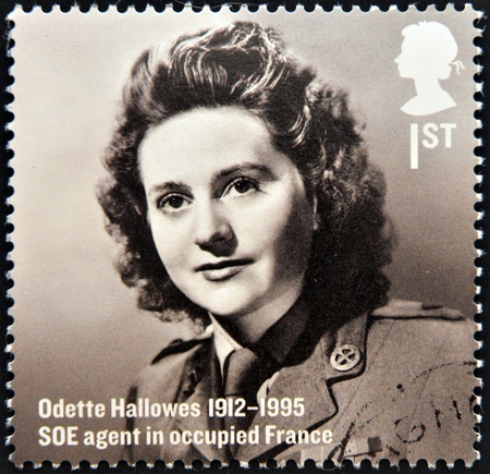 occupied: UNITED KINGDOM - CIRCA 2012  A stamp printed in Great Britain shows Odette Hallows, SOE agent in occupied France, circa 2012 Editorial