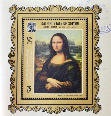 mona lisa: KATHIRI STATE OF SEYYUN - CIRCA 1970: A stamp printed in South Arabia shows Mona Lisa or La Gioconda by Leonardo Da Vinci. Louvre, Paris, France, circa 1970