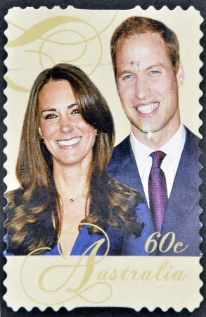 AUSTRALIA - CIRCA 2011: A stamp printed in Australia shows an image of Prince Williams and Kate Middleton, circa 2011.