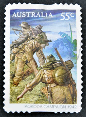 khakis: AUSTRALIA - CIRCA 2010: stamp printed in Australia shows Australian troops on the Kokoda Track, circa 2010.