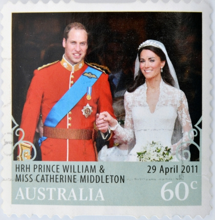 middleton: AUSTRALIA - CIRCA 2011: A  stamp printed in Australia shows an image of Prince Williams and Kate Middleton royal wedding, circa 2011.  Editorial