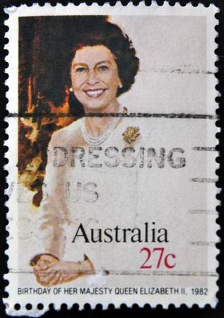 the majesty: AUSTRALIA - CIRCA 1982: A stamp printed in Australia, shows Birthday of her majesty Queen Elizabeth II, circa 1982  Editorial