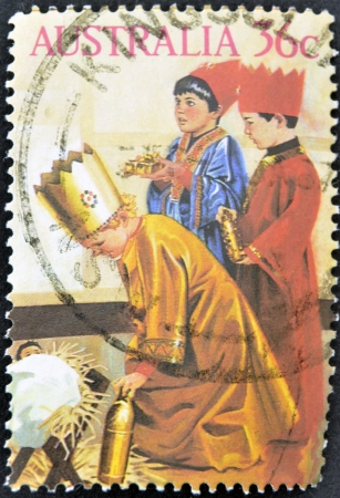 AUSTRALIA - CIRCA 1986: stamp printed by Australia, shows  three children dressed as the Magi in the Christmas school function, circa 1986
